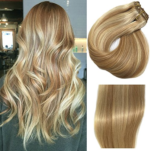 Clip in/on Hair Extensions Human Hair 7 Pcs 120g Per Set Blonde With Strawberry Blonde Highlights Dip Dyed Balayage For Full Head Straight Soft Thick Extensions (20 inches, #27P613)