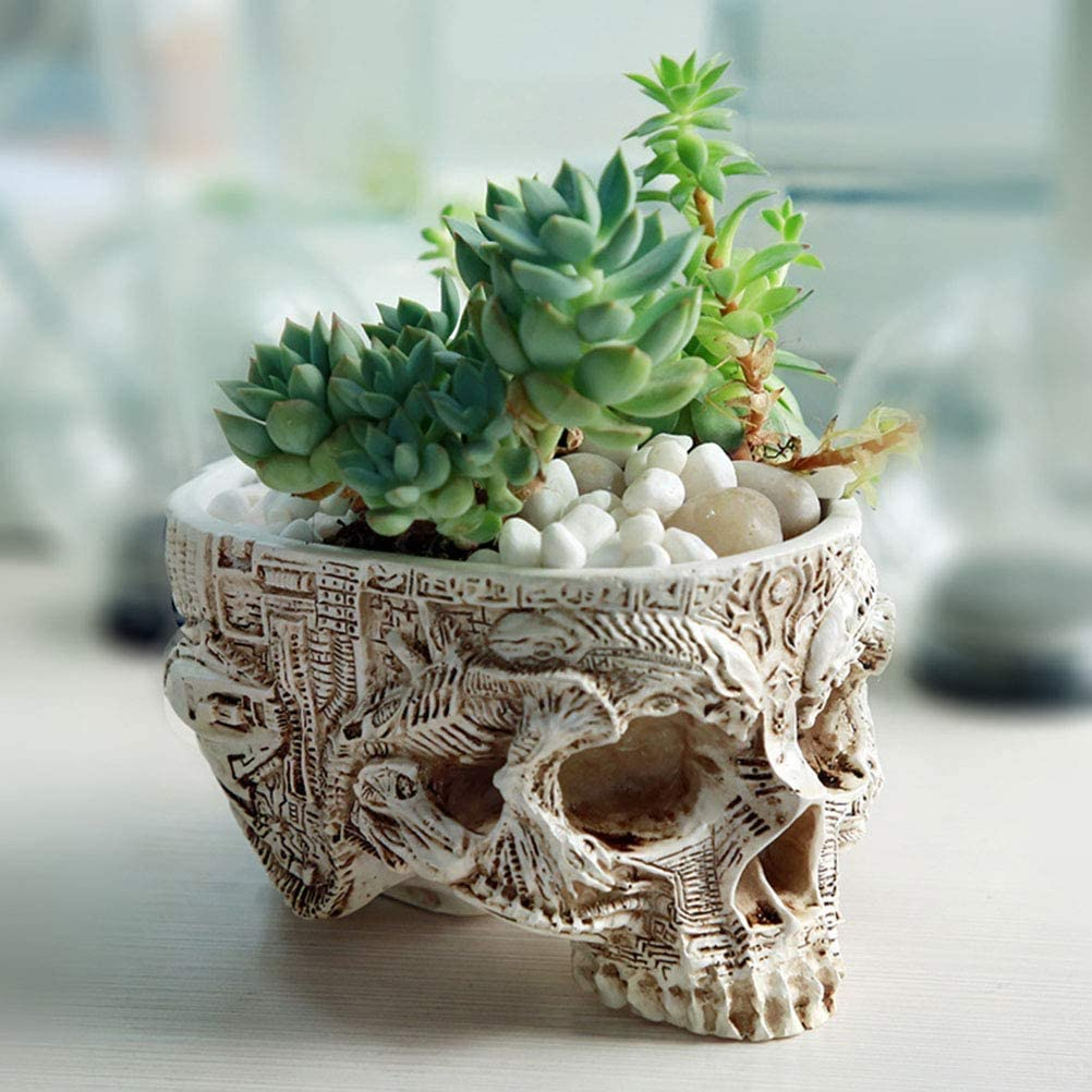 Skull Potted Plant Head Planter Small Succulent Pots Mini Version Resin Home Gardening Flower Pots, Special Creative Decorations Outdoor Halloween Suitable for Decoration of Meat Plants