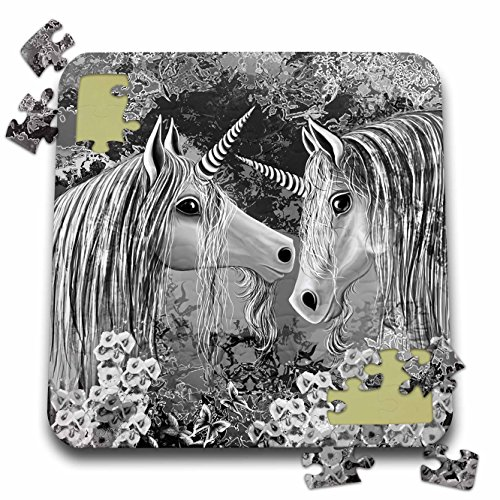 Dream Essence Designs-Fantasy - A pair of loving Unicorns shown in a beautiful silver realm - 10x10 Inch Puzzle (pzl_262348_2)