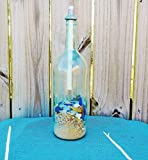 Tiki Torch Wine Bottle with Yellow and Cobalt Blue Sea Glass and Sea Shells