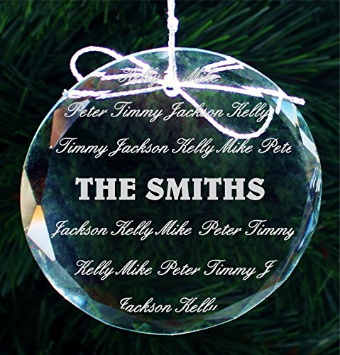 Name Ornament Personalized (Personalized Family Name Christmas Ornament, Custom Engraved Handmade Crystal Ornament - COR003)