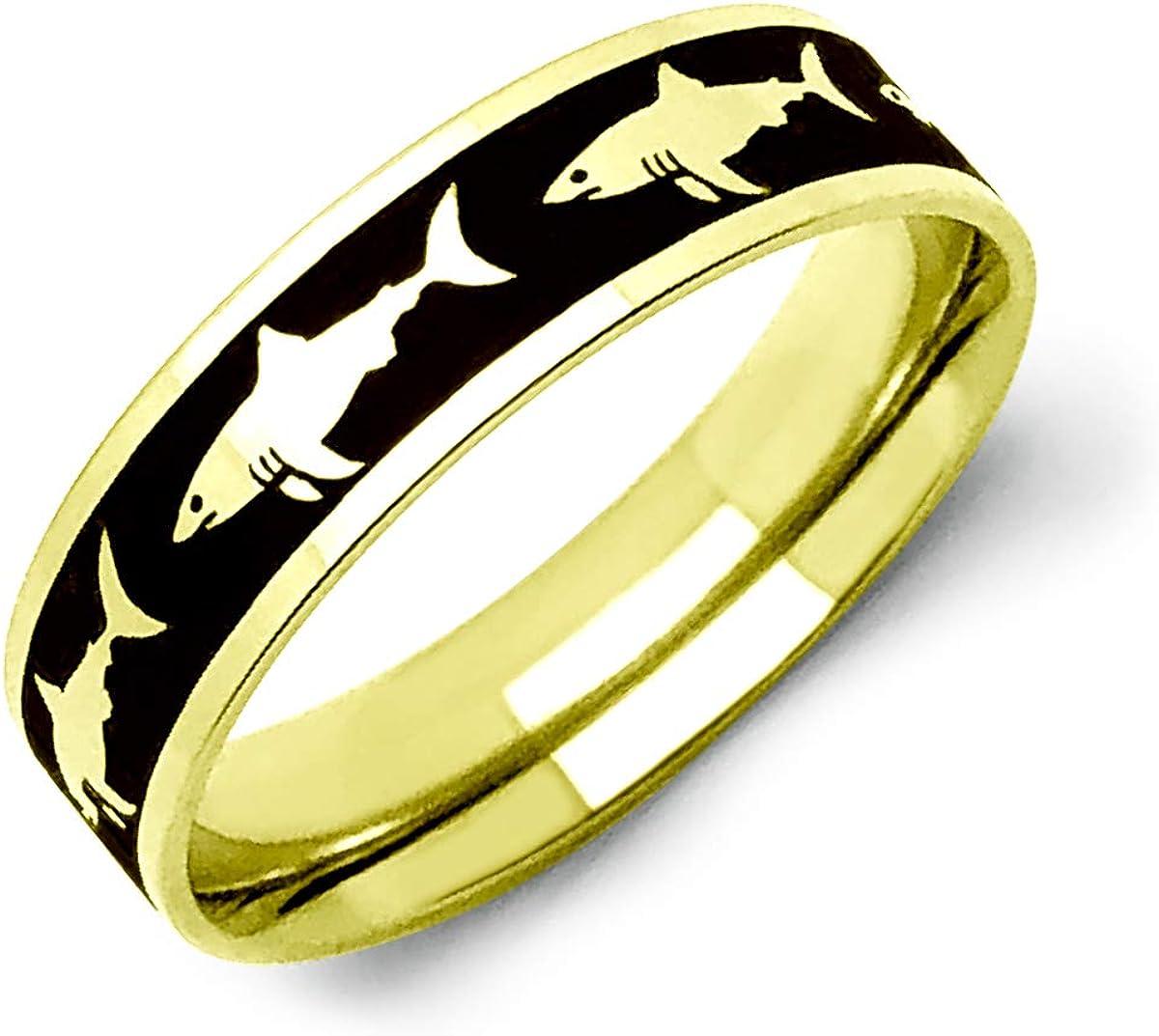Kriskate & Co. Shark Ring Personalized Stainless Steel Ring Gold Tone Wedding Band for Men or Women Promise Ring SSR780-G
