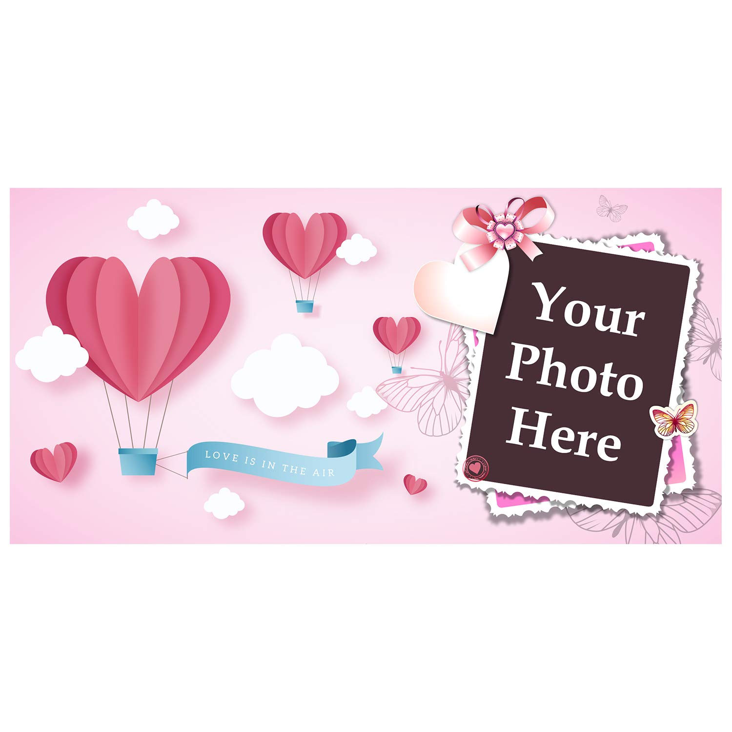 BANNER BUZZ MAKE IT VISIBLE Custom Magnetic Picture Love is in The Air Pink Parachute Pocket Frame, Self-Adhesive Pocket Photo Magnets for Refrigerator, Valentine Day Gifts & More (12'' X 24'')