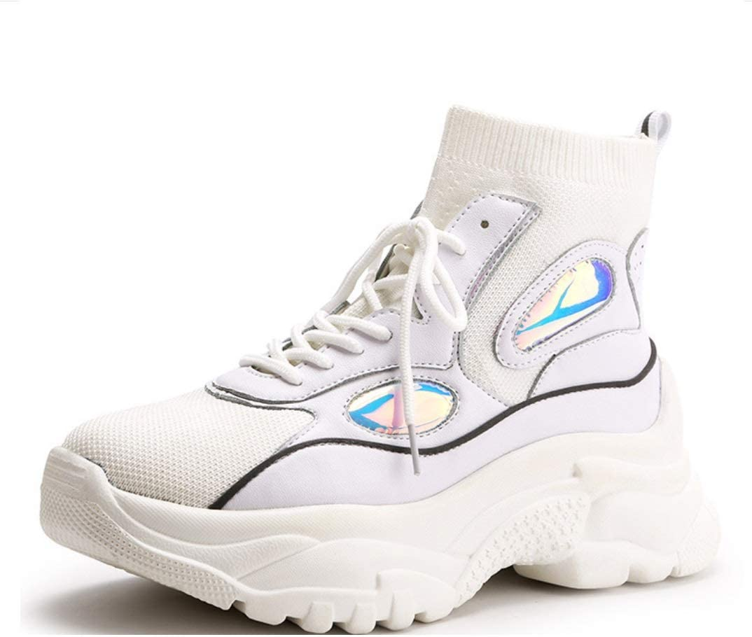 LIANGXIE High-Top Zapatillas de Deporte de Malla Calcetines creativos Coreanos Botas de Plataforma elástica Moda Casual Aumento Zapatos de Mujer (Color : Blanco, tamaño : 40): Amazon.es: Deportes y aire libre