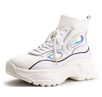 LIANGXIE High-Top Zapatillas de Deporte de Malla Calcetines creativos Coreanos Botas de Plataforma elástica Moda Casual Aumento Zapatos de Mujer: Amazon.es: ...