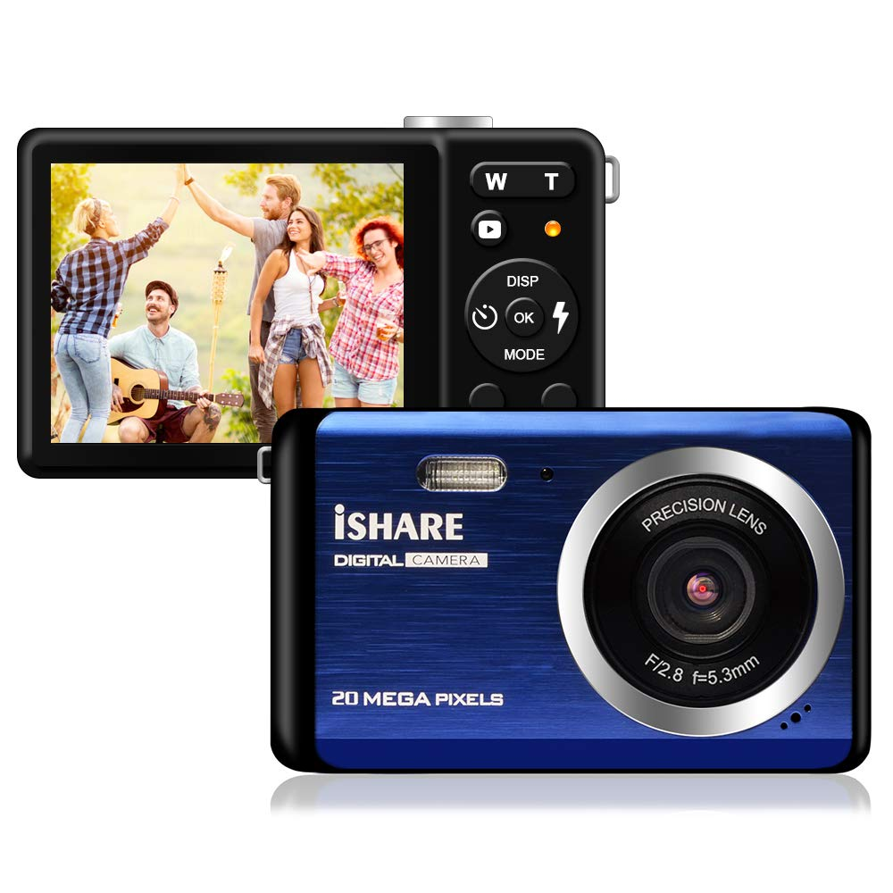 Compact Digital Camera, Rechargeable 20MP Kids Camera with 2.8'' LCD 8X Digital Zoom for Adult Seniors Elders(Blue)