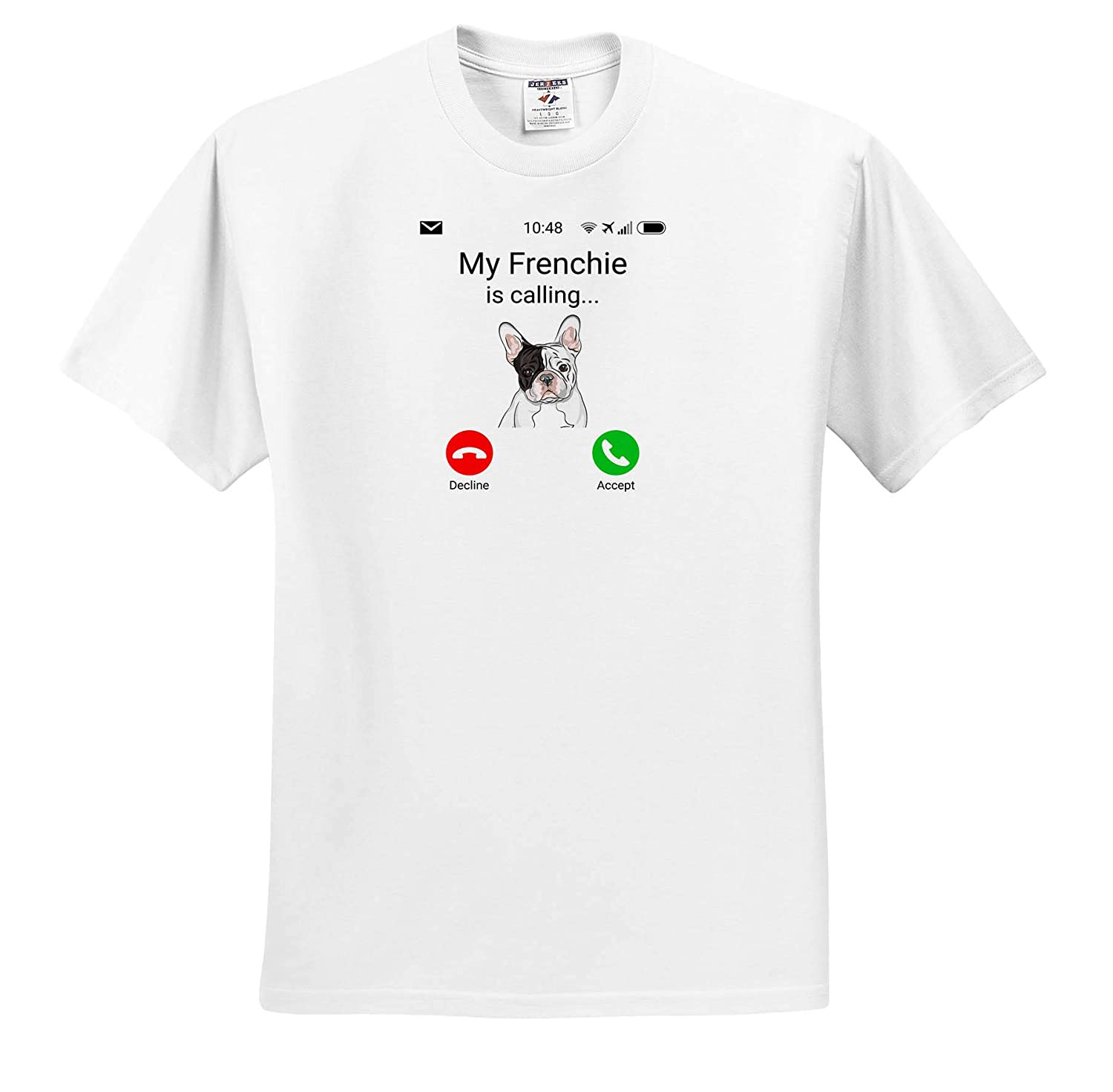 My Frenchie is Calling Funny Incoming Phone Call Adult T-Shirt XL 3dRose Carsten Reisinger Illustrations ts/_316054