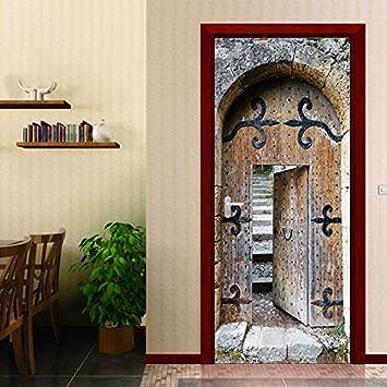 Ladrillo De Piedra Retro Europeo 3D Puerta Pegar Sala De Estar Dormitorio Secreto Pared Pegar Pvc Se Puede Quitar 38.5X200Cmx2Pcs: Amazon.es: Bricolaje y herramientas