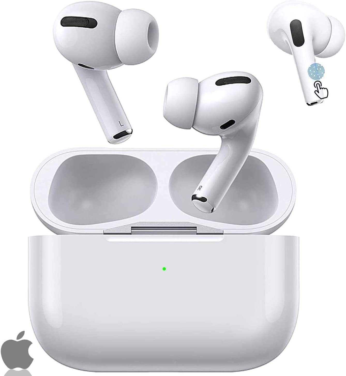 Wireless Earbuds, Bluetooth 5.0 Headphone, with 24h Charge Case, Touch Control, IPX5 Waterproof, 3D Stereo Sound, Noise Canceling, Pop-up Pairing Compatible with Apple/Airpods Pro/iPhone/Android
