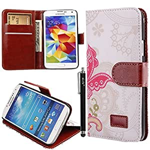 Aroko(TM) PU Leather New Style Credit Card Holder Wallet Flip Magnet Stand Cover Case for Samsung Galaxy S5 i9600,Free Aroko stylus Pen(Color Random) (Galaxy S5 i9600, Butterfly)