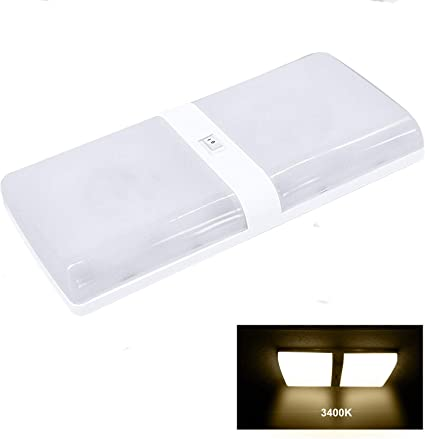 Facon Luz de Techo LED 12 V para Autocaravana, Autocaravana, Caravana, Remolque, luz Interior, Nuevo diseño, Familia de Diamante Simple y Doble (1 ...