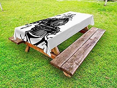 Ambesonne Train Outdoor Tablecloth, Monochromatic Woodcut Illustration of Railroad Locomotive Transportation, Decorative Washable Picnic Table Cloth, Charcoal Grey and White