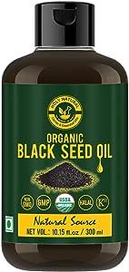 Organic Black Seed/Nigella Sativa/Kalonji Seeds Oil (10.15 fl oz) USDA Certified, Virgin Cold-Pressed, 100% Pure & Natural, No GMO, Untreated Black Seed Oil – Source of Thymoquinone & Omega 3,6 & 9