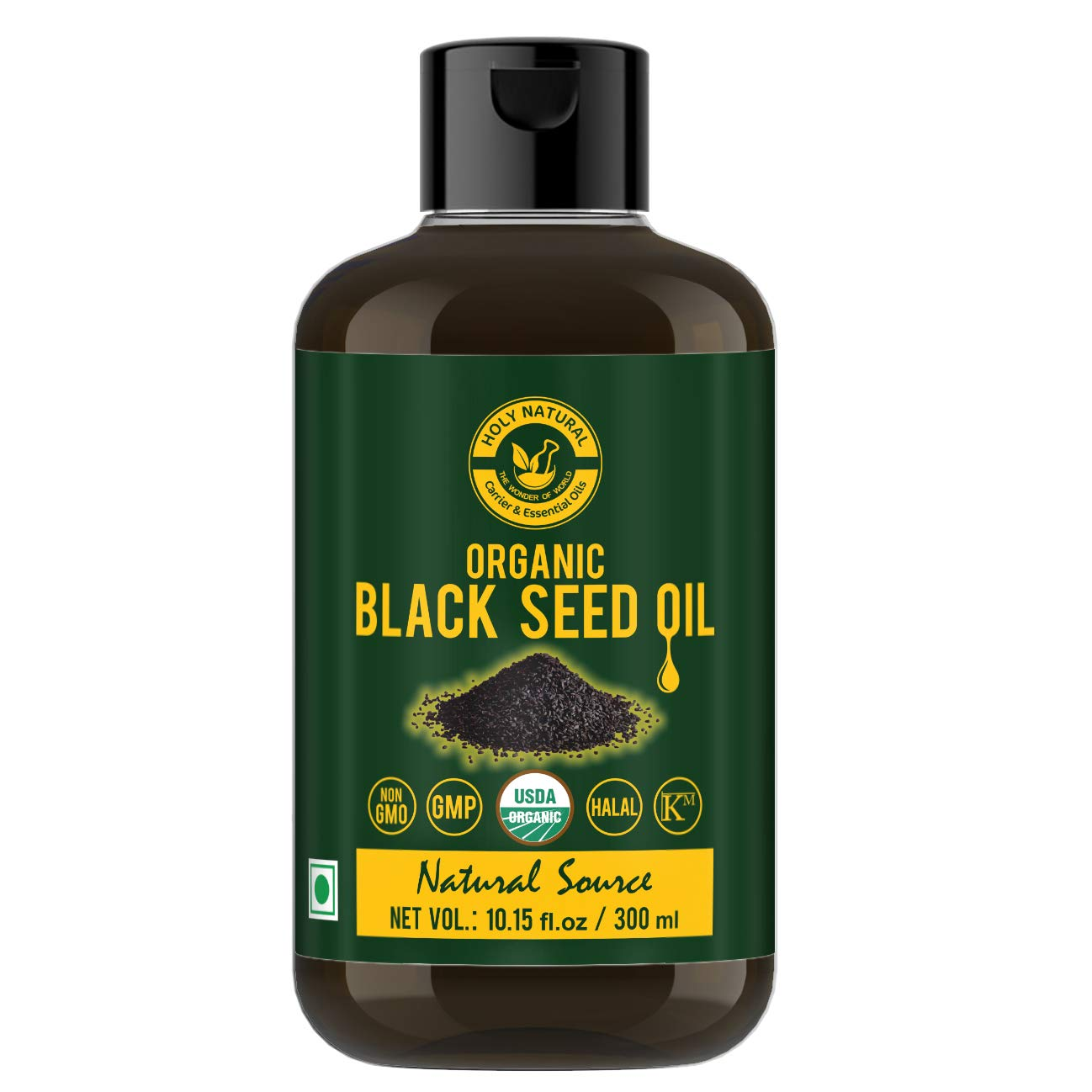 Holy Natural Organic Black Seed/Nigella Sativa/Kalonji Seeds Oil (300 ml) USDA Certified, Virgin Cold-Pressed Natural, No GMO, Untreated oil