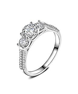 LANDFOX Las mujeres de la moda blanco Zircon boda compromiso sólido blanco fino anillo (7)