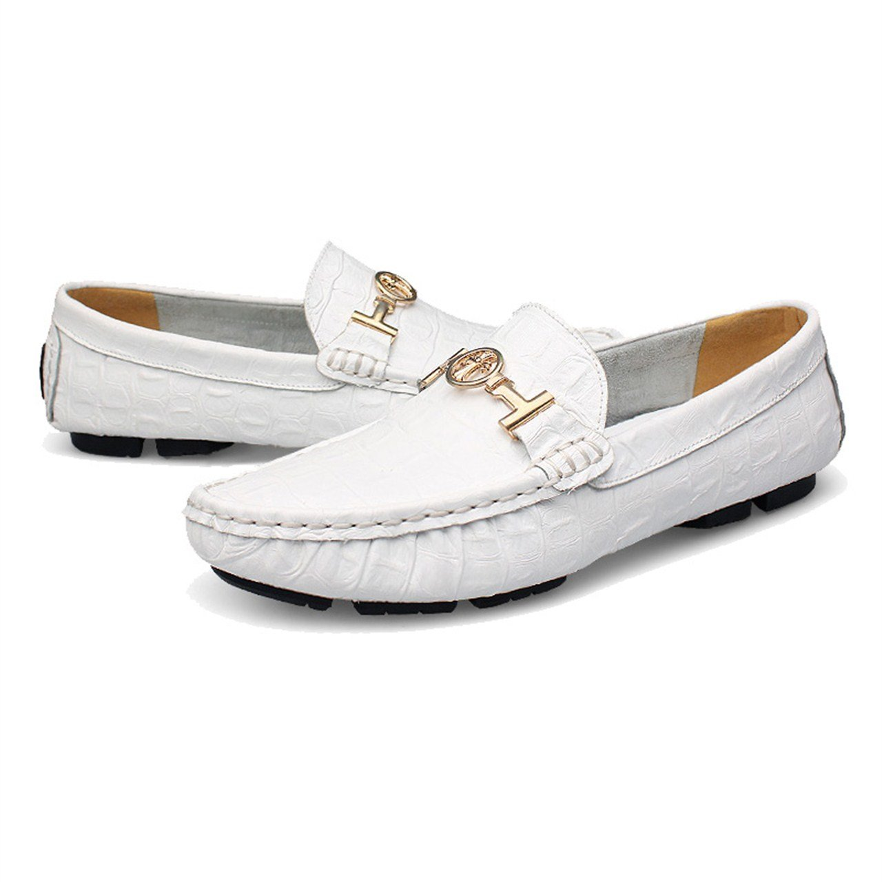 TRULAND Mocasines para Hombre en Cuero con Estampado de Cocodrilo: Amazon.es: Zapatos y complementos