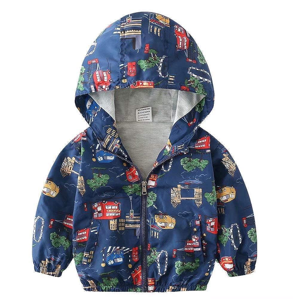 Banibear Toddler Boys Dinosaur Zip Up Hoodie Windbreaker