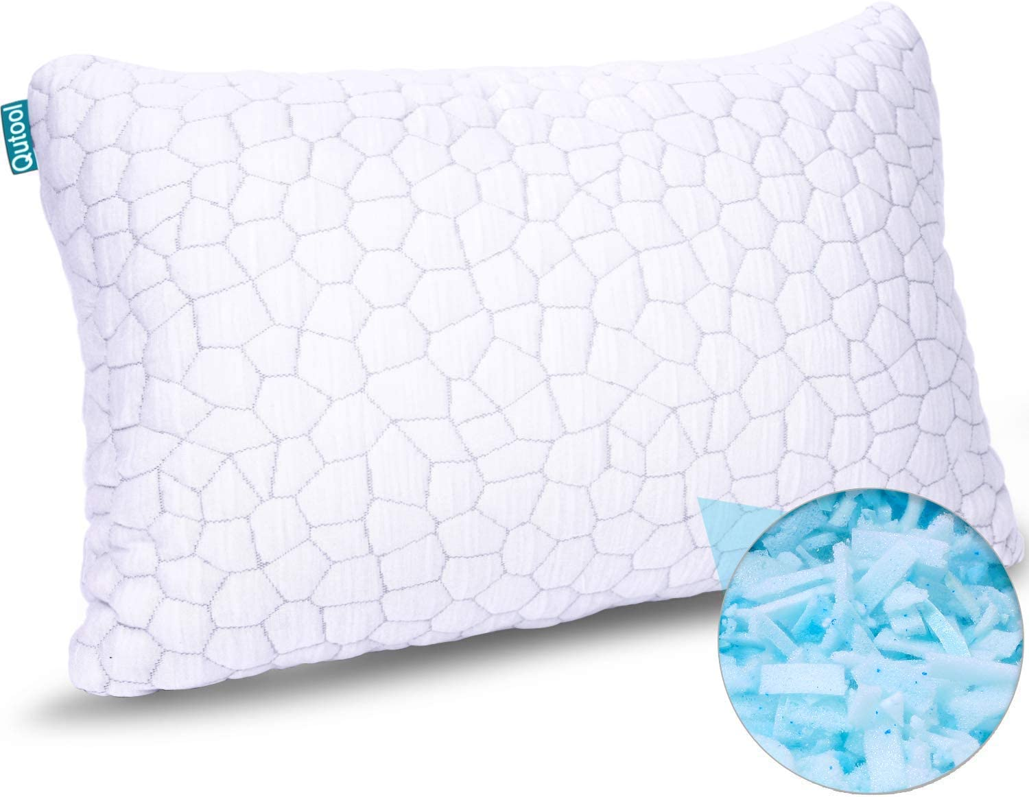 Shredded Memory Foam Pillows for Sleeping Cooling Bamboo Pillow with Adjustable Loft Hypoallergenic Bed Pillows for Side and Back Sleepers Washable Removable Derived Rayon Cover Queen Size (1-Pack)