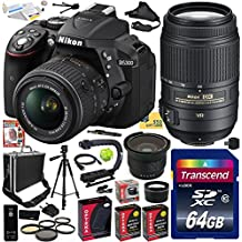"""Nikon D5300 24.2 MP CMOS Digital SLR Camera with 18-55mm f/3.5-5.6G ED VR II AF-S DX NIKKOR Zoom Lens & Nikon AF-S NIKKOR 55-300mm f/4.5-5.6G ED VR Zoom Lens (Black) (1522) with Exclusive Accessory Bundle Kit includes 64GB SD Memory Card + SD Card Reader + 60"""" Tripod + Hot Shoe Bubble Level Indicator + Small Hard Case + HDMI Cable + (2) Extra Battery + Charger + 52MM 5 Piece Filter Set + Shutter Remote Control + 2.2x Telephoto AF Lens + 0.35x Wide Angle Panoramic Macro Fisheye Lens + XGrip"""