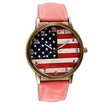Relojes Yes Mile mujer hombre reloj Mode Bandera de Estados Unidos Imprimir Reloj de pulsera vintage