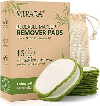 Umweltfreundliche Wattepads F/üR Gesichtst/üCher Mit W/äSchebeutel Waschbare Bio-Bambus-Wattepads Wiederverwendbare Make-Up-Entferner-Pads 16 St/üCk