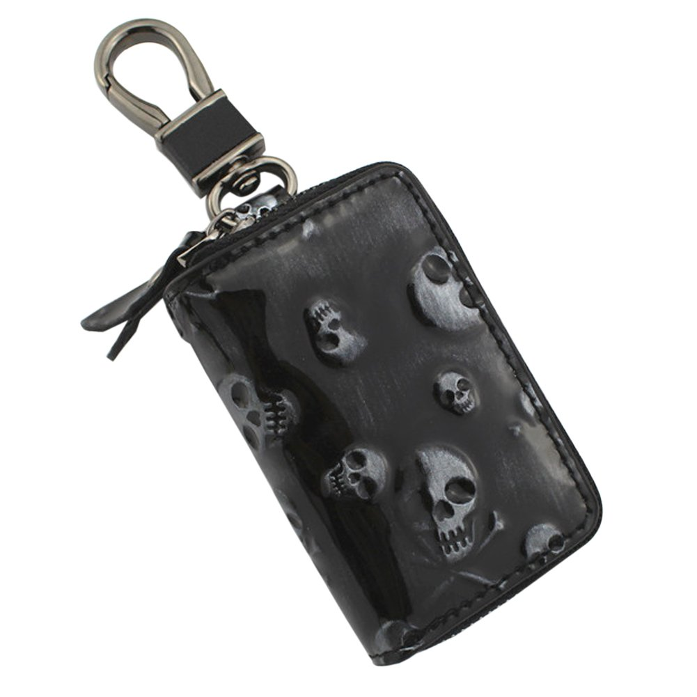 Ozzptuu Stylish Leather Skull Pattern Car Key Case Chain Holder Wallet Bag with Zipper (Black)