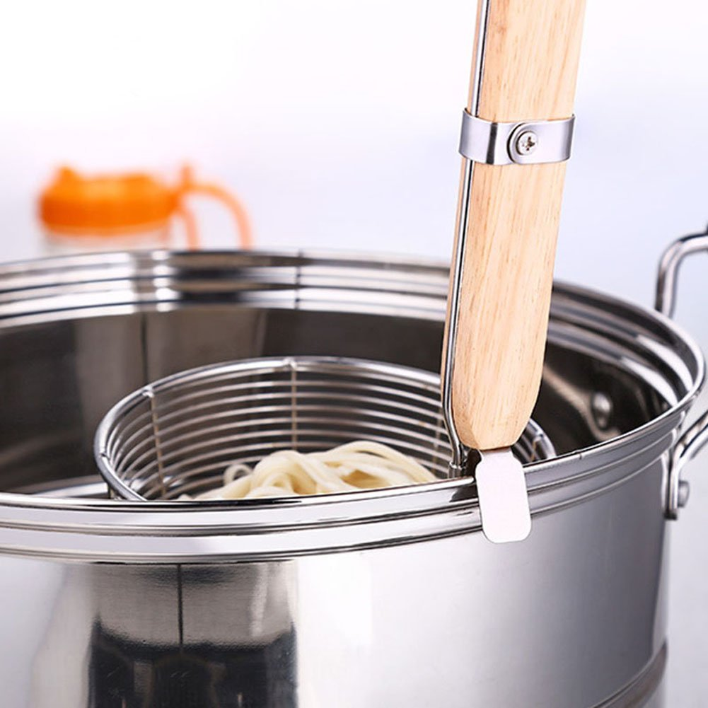 XH Stainless Steel Strainer Basket with Long Handle, Frying Food Noodles Dumpling Fondue Mesh Basket (L) by XHHOME (Image #6)