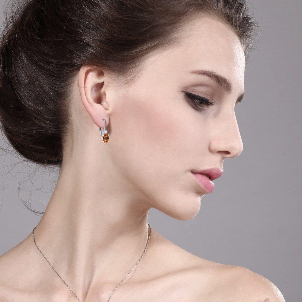 Gem Stone King 1.18 Ct Ecstasy Mystic Topaz White Sapphire Sterling Silver Leverback Earrings