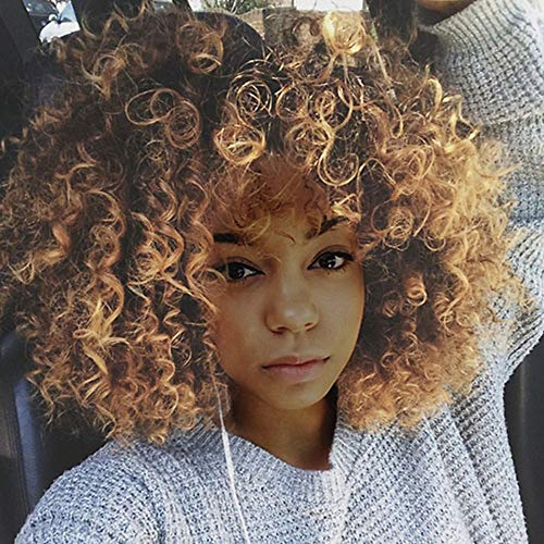 XILALU Blonde Hair Synthetic Synthetic Short Hair Curly Hair Wigs for Black -