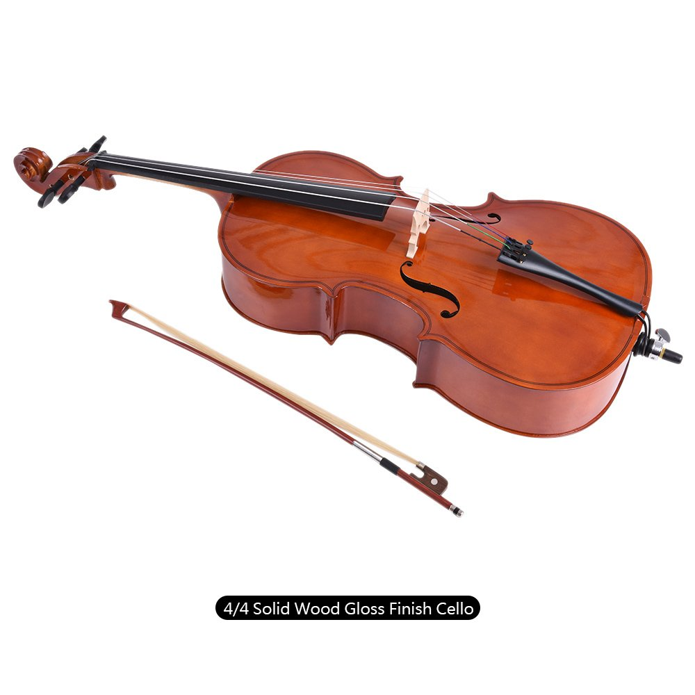 Walmeck Wooden Cello Gloss Basswood Face Board with Bow Rosin Carrying Bag for Students Music Lovers