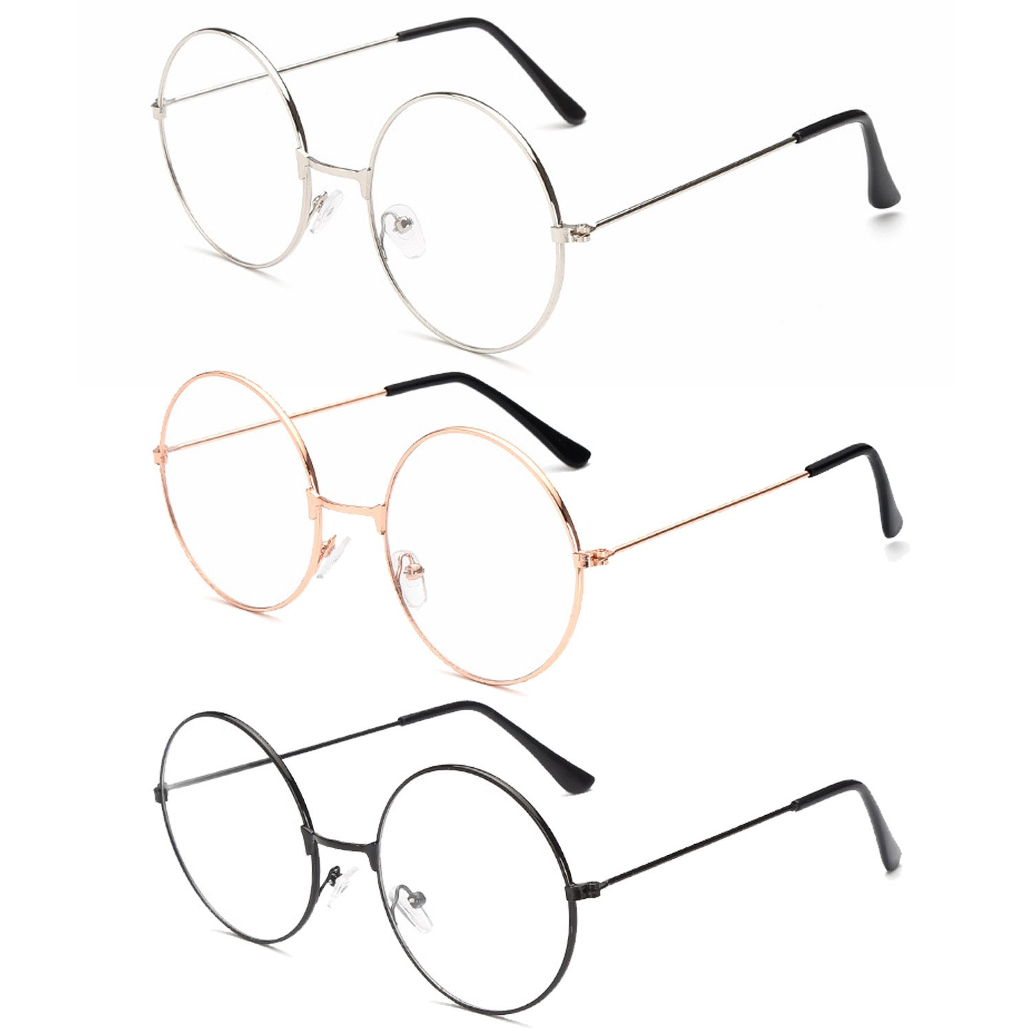 31539bd00608 Amazon.com  3Pairs Unisex Retro Round Eyeglasses 3 Different Color Circle  Metal Frame Clear Lens Glasses for Women Men  Home Improvement