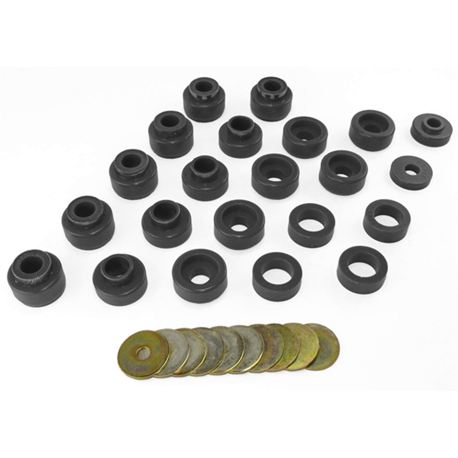 Prothane 1-105-BL Black Body Mount Bushing Kit for CJ5, CJ7, CJ8, YJ and TJ - 22 Piece