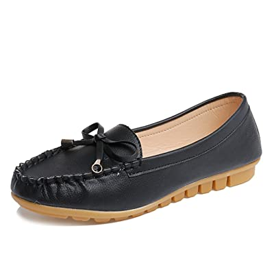 9bc4cfec007 AMA(TM) Women Leather Flats Slip On Loafers Soft Driving Walk Boat Shoes