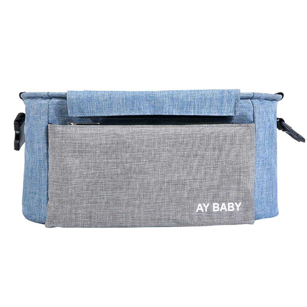 Multifunction Waterproof Large Capacity Stroller Hanging Bag Shoulder Diaper Bag Bottle Pack Stroller Organizer Holders Accessory Grey and Blue