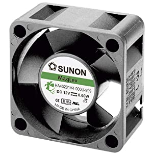SUNON HA40101V4-0000-999 DC Brushless Fan, 12V, 10 mm H x 40 mm L x 40 mm W