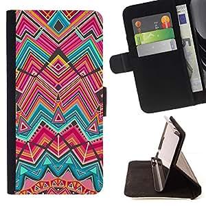 For HTC One M9 Case , Líneas trullo rosa india étnicas- la tarjeta de Crédito Slots PU Funda de cuero Monedero caso cubierta de piel