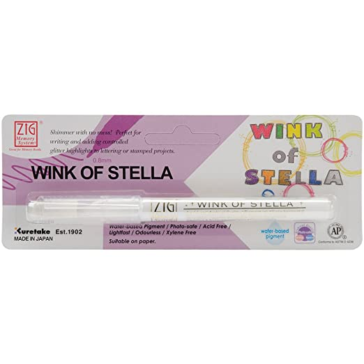 Zig Memory System Wink of Stella Giltter Marker, Carded, Clear