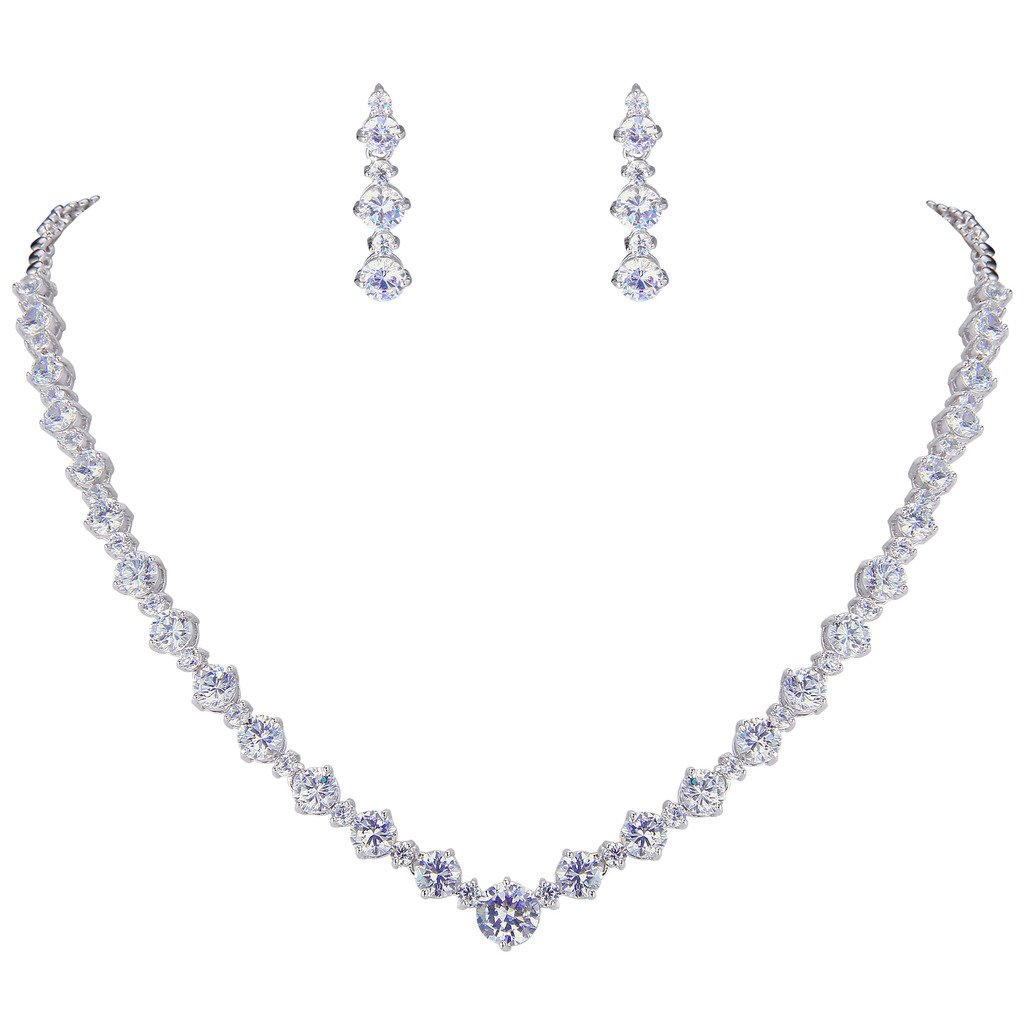 EVER FAITH Wedding Silver-Tone Clear Zircon CZ Flower Circle Necklace Earrings Set