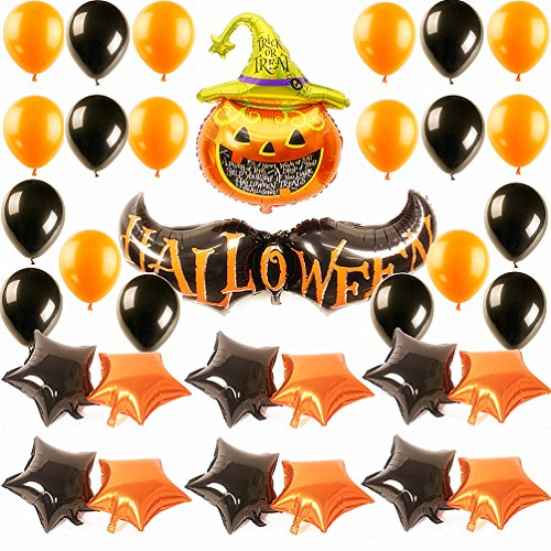 AZOWA 34 Pcs Pumpkin Bat Foil And Latex Balloon Happy Halloween Decorations Kit for Kids Party Ideas (Door Decorations For Halloween Contest)