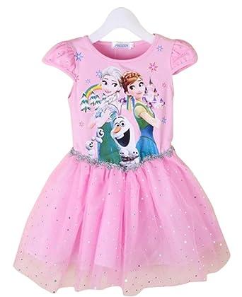 69164af03 MissFox Niñas Disfraz De Princesa Elsa Y Anna Impresión Vestidos Manga  Corta FS 150CM  Amazon.es  Ropa y accesorios