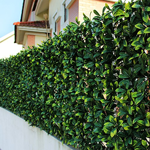 ULAND Artificial Laurel Leaf Fence, Boxwood Hedges Panels, UV Privacy Fence Screening, Wall Cover Home Decoration, 20