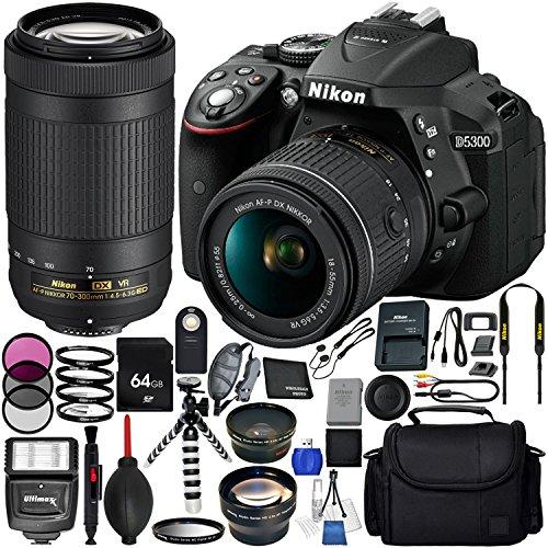 Nikon D5300 with AF-P DX 18-55mm f/3.5-5.6G VR + Nikon AF-P DX 70-300mm f/4.5-6.3G ED VR 19PC Accessory Bundle - Includes 64GB SD Memory Card + Digital Slave Flash + Hand/Wrist Strap + MORE