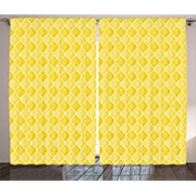Yellow Decor Curtains by Ambesonne, Quatrefoil Moroccan Themed Oval Geometric Ombre Pattern Artwork, Living Room Bedroom Window Drapes 2 Panel Set, 108W X 84L Inches, Yellow Merigold and White