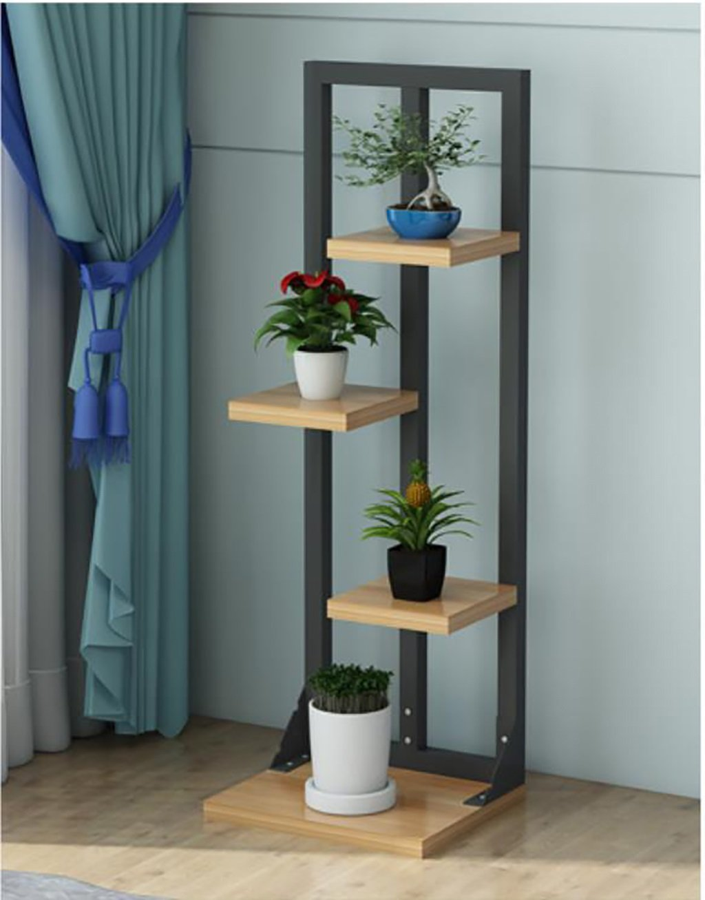 ヨーロッパスタイルのリビングルームのベッドルームの木の花/花植物の花のディスプレイスタンド (色 : B) B07DB65569 B B