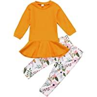 Kids Toddler Baby Girl Long Sleeve T-shirt Top Dress+Floral Pants Outfit Clothing Set