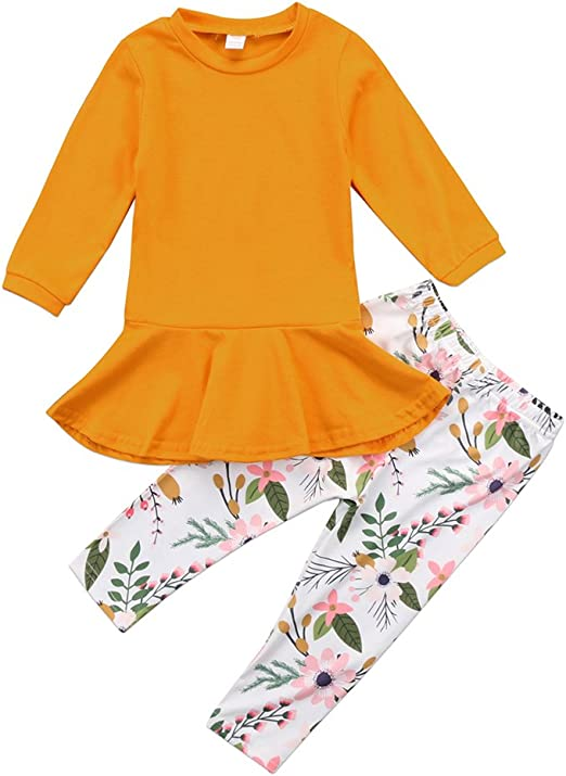2PCS Toddler Kids Baby Girl Autumn Clothes Tunic Dress+Pants Legging Outfits Set