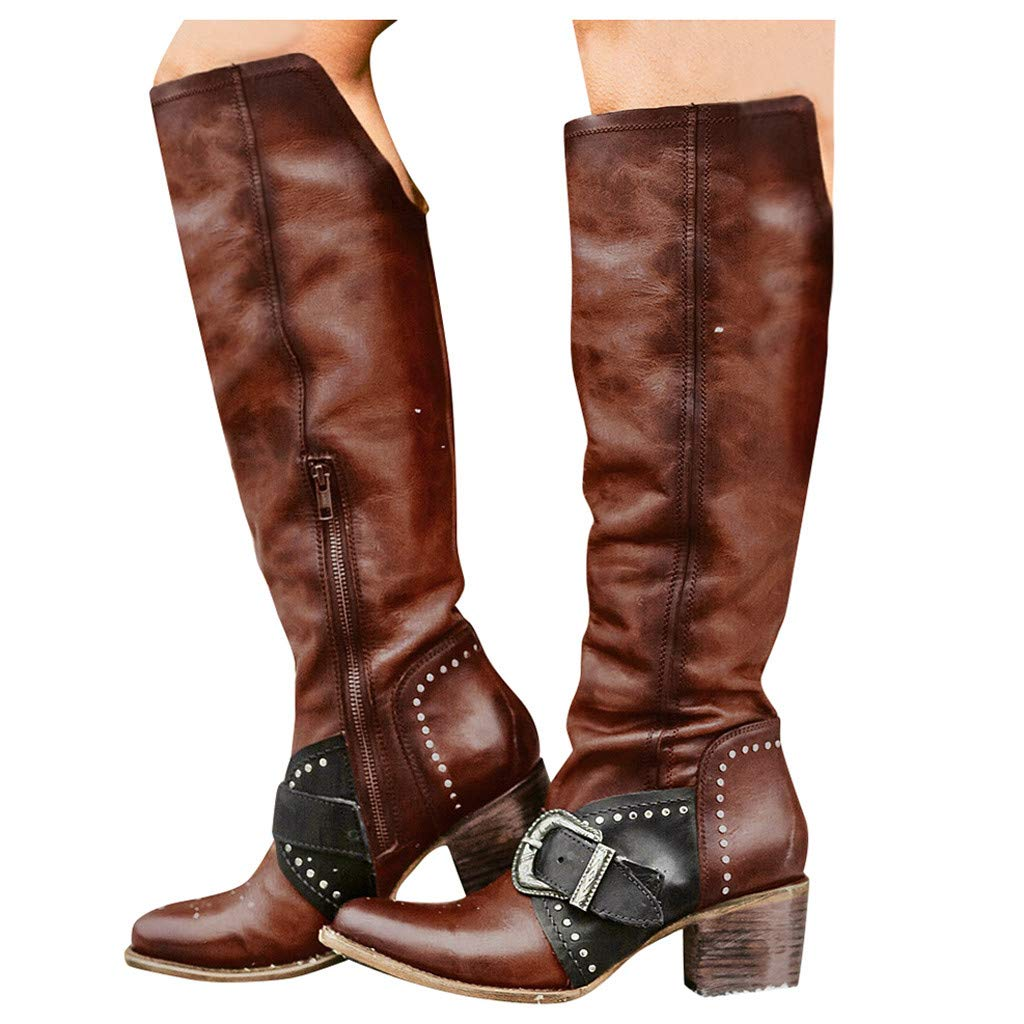 Dainzuy Womens Winter Knee High Boots Rome Riding Military Moto Chunky Heel Buckle Straps Boots with Zipper Brown by Dainzuy Women's Shoes