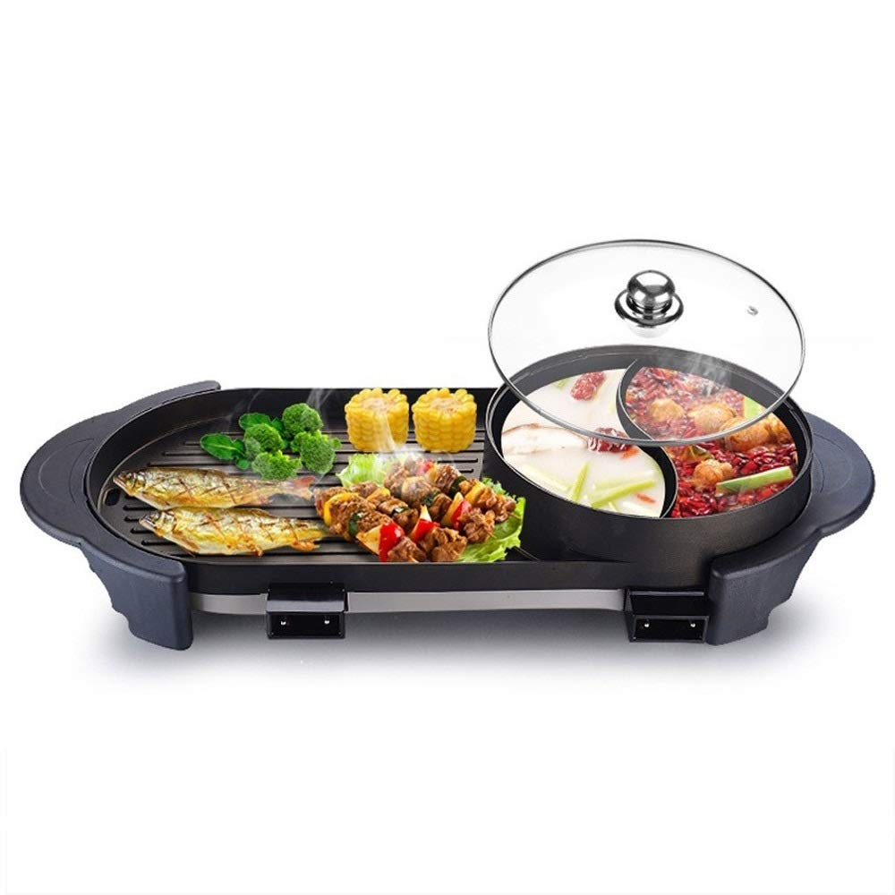 WSJTT Electric Grill with Hot Pot,Non-Stick Coating Surface,Hot Pot with Glass Lid,Multifunction Two-in-one Electric Smokeless Non-Stick Barbecue Grilled Shabu-shabu 2200W 110V by WSJTT