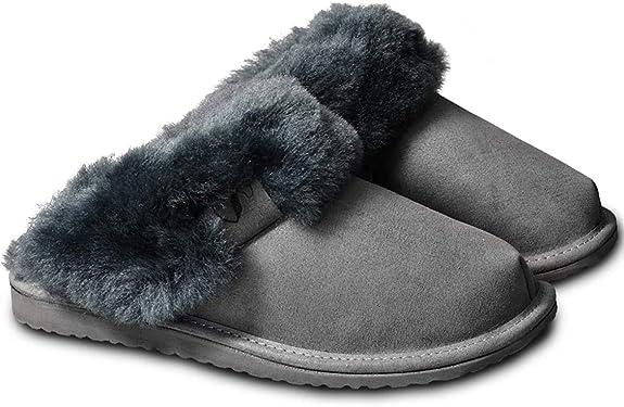 Estro en peau de mouton pour femme Chaussons Femme Laine-Cuir Mule Bottes d/'hiver diapositives W
