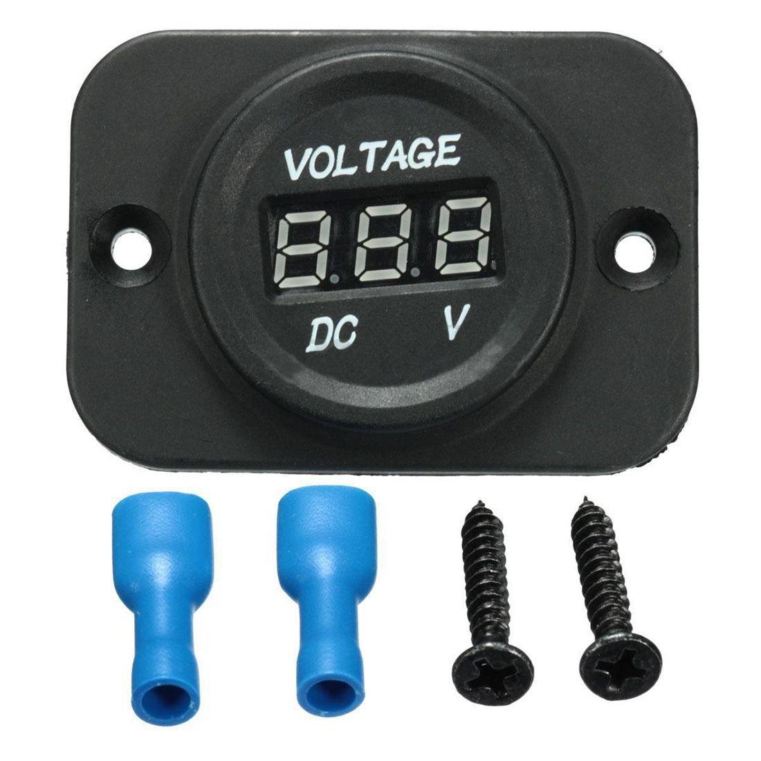 TOOGOO 12V-24V Waterproof Car Motorcycle LED Digital Display Voltmeter Voltage Meter Black